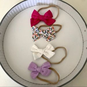 Spring Bundle of Hand Tied Baby Bows on Nylon